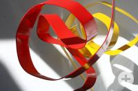 Susanne Immer, Ausschnitt mit drive (rote Arbeit), durch -Sicht (gelbe Arbeit), 2020 (c)VG BildKunst