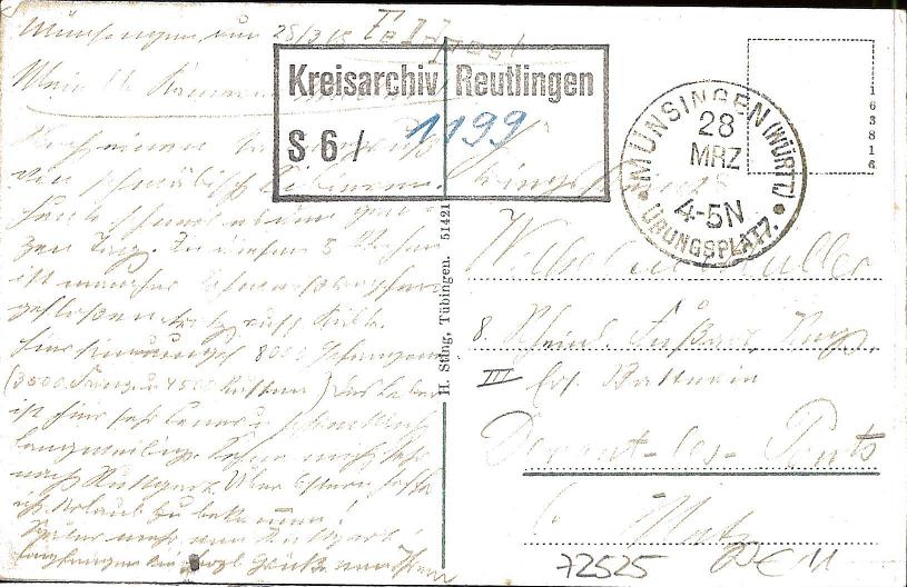 Feldpostkarte vom Truppenübungsplatz Münsingen versandt im Jahr 1915