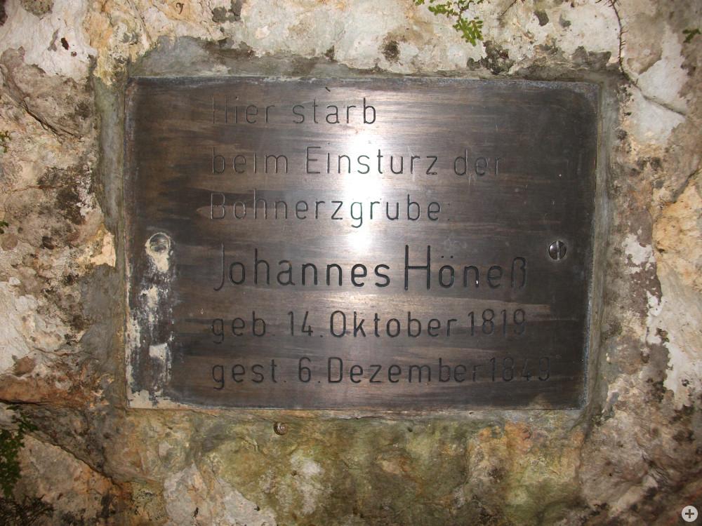 Gedenkstein eines Bergmanns, der durch einen herabstürzenden Stein erschlagen wurde