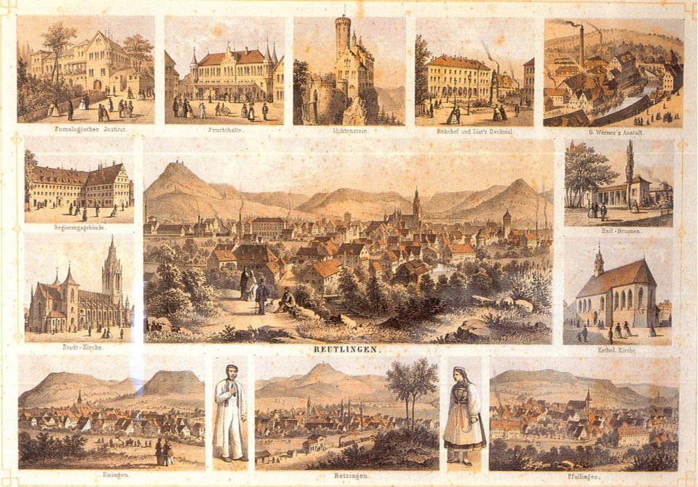 Reutlinger Ansichtskarte mit Sehenswürdigkeiten, 1863