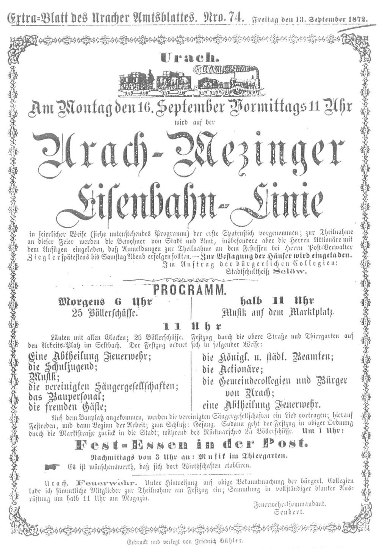 Hinweis auf die Eröffnungsfeier der Ermstalbahn im Extrablatt des Uracher Amtsblattes