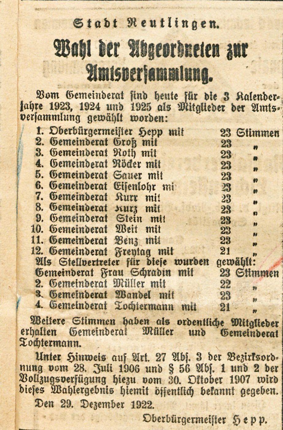 Reutlinger Amtsblatt aus dem Jahr 1922