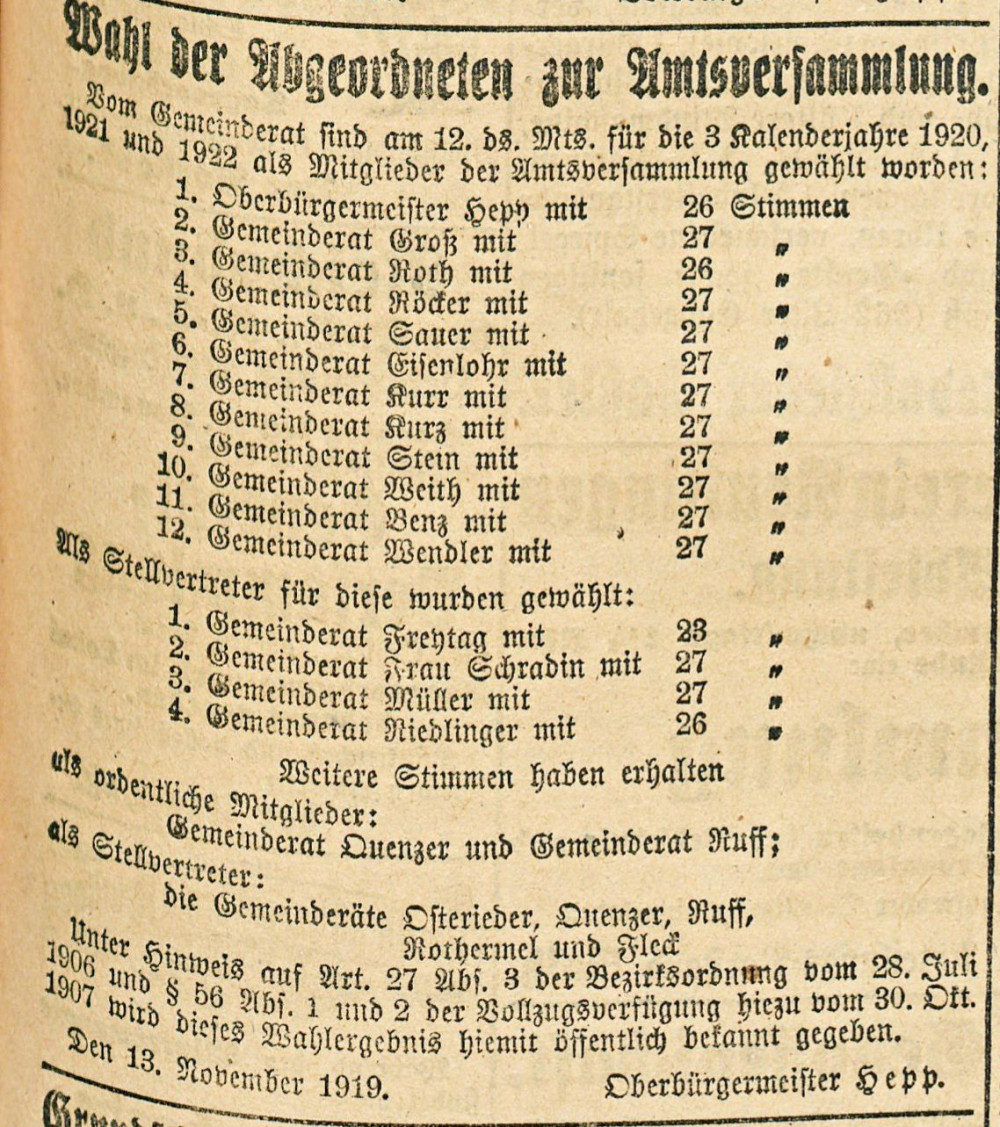 Reutlinger Amtsblatt aus dem Jahr 1919