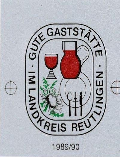 """Wettbewerb """"Gute Gaststätte im Landkreis Reutlingen"""", 1990"""