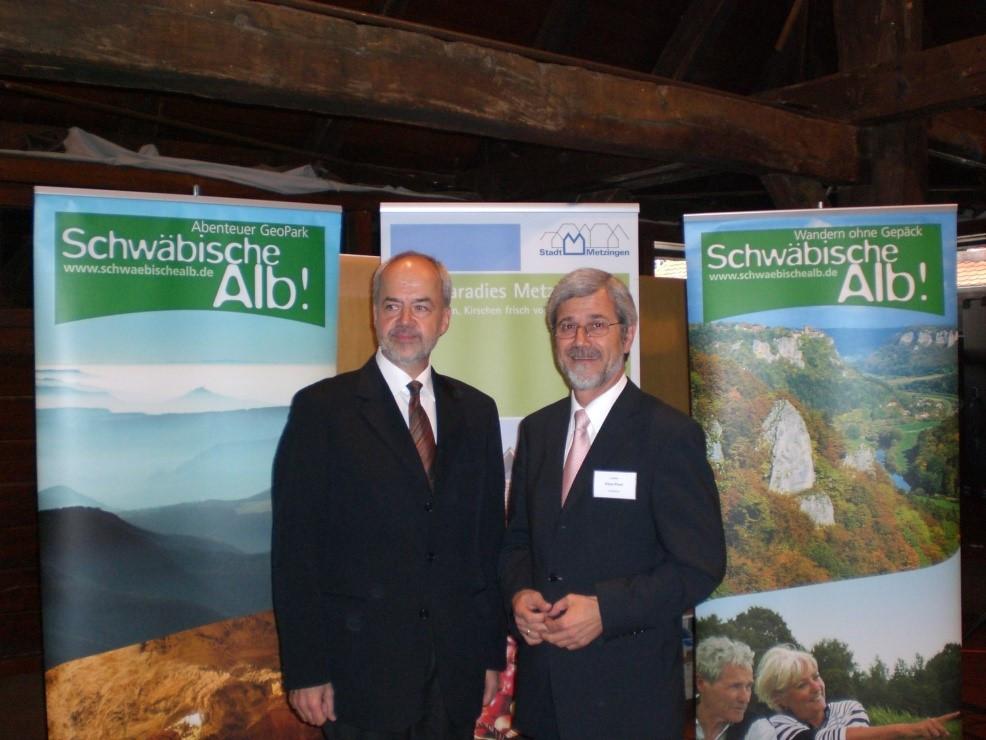 Thomas Reumann und Klaus Pavel bei einer Veranstaltung des Tourismusverbands Schwäbische Alb