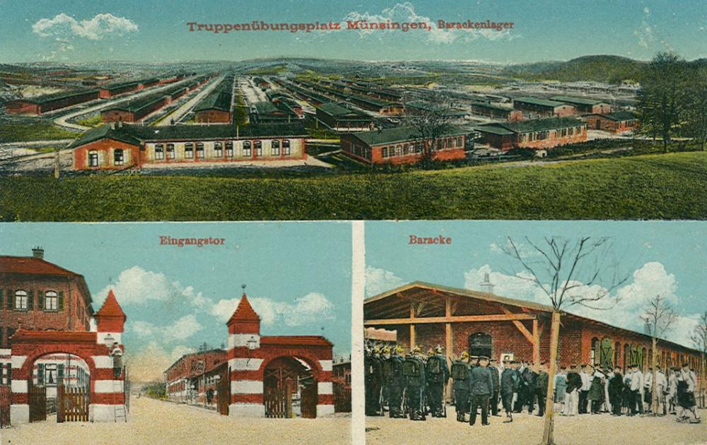 Lagereingang, im Hintergrund das Barackenlager, um 1915 (KART S 6 Nr. 907)