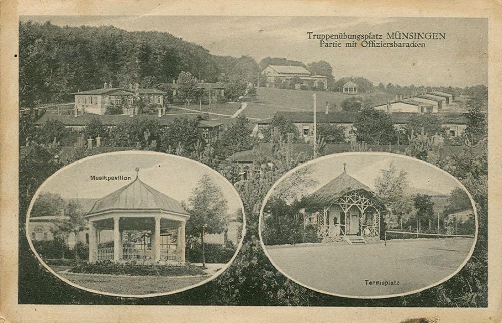 Offiziersbaracken, Musikpavillion und Tennisplatz, um 1917 (KART S 6 Nr. 1065)