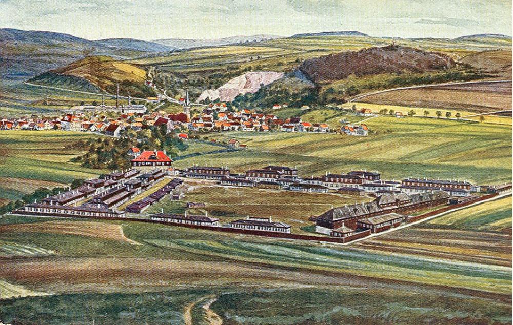 Neues Lager, im Hintergrund Münsingen, um 1917 (KART S 6 Nr. 454)