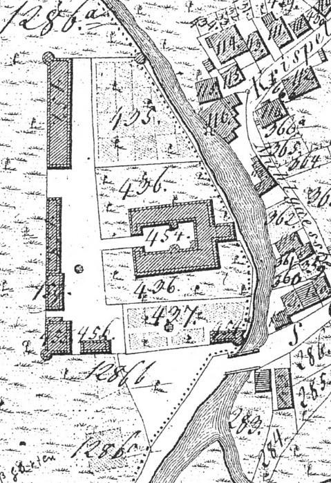 Die noch vollkommen intakte Schlossanlage auf einem Ausschnitt der Flurkarte S.O. VI 12 aus dem Jahr 1820