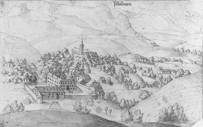 Ansicht Pfullingens mit dem Schloss, Mitte des 17. Jahrhunderts
