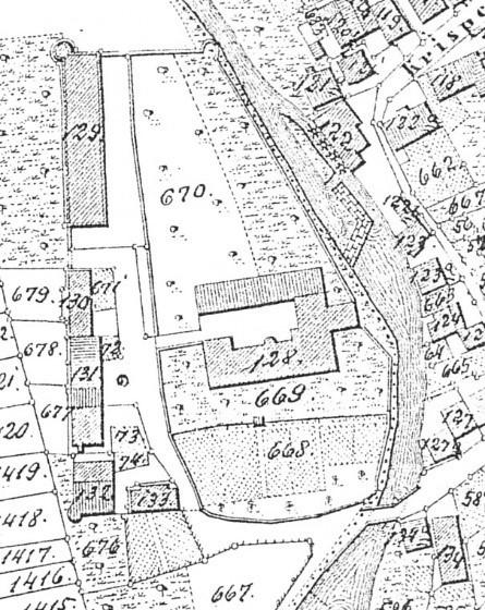 Das Schlossanwesen auf einem Ausschnitt der Flurkarte S.O. VI 12 aus dem Jahr 1847
