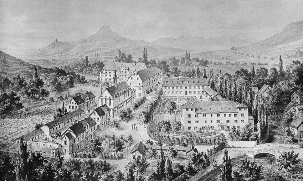 Gesamtansicht der Heil- und Pflegeanstalt Pfullingen, um 1890