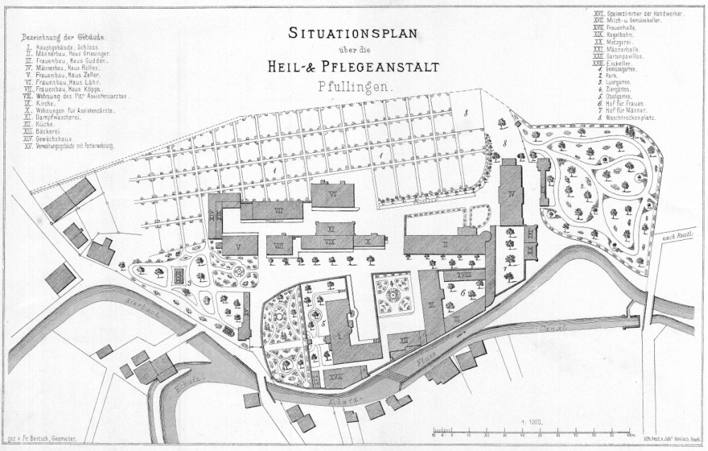 Situationsplan der Heil- und Pflegeanstalt Pfullingen, um 1890