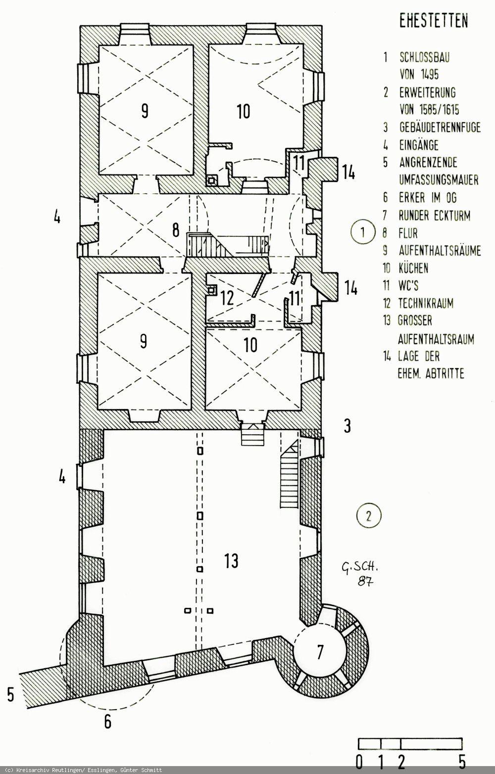 Grundriss des Schlosses Ehestetten