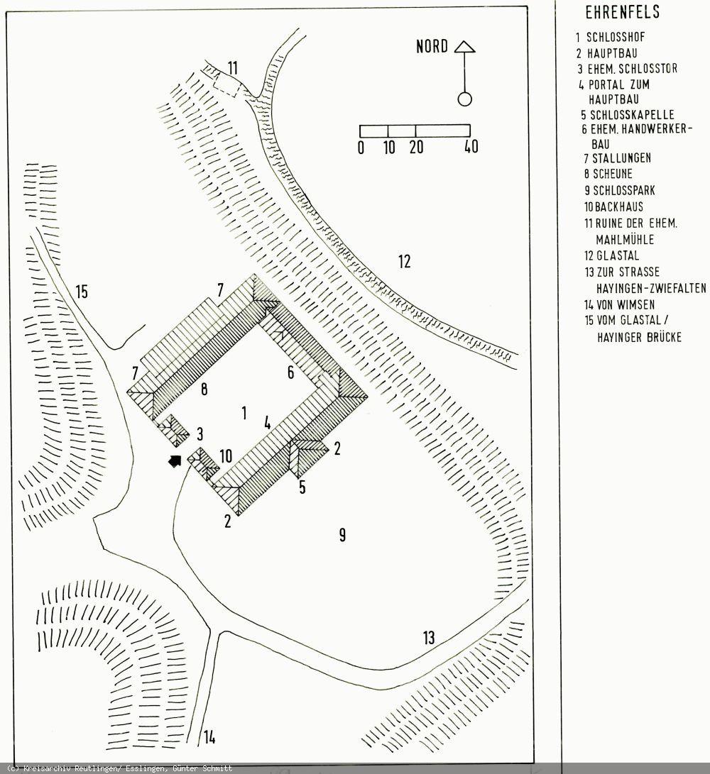 Lageplan des Schlosses Ehrenfels
