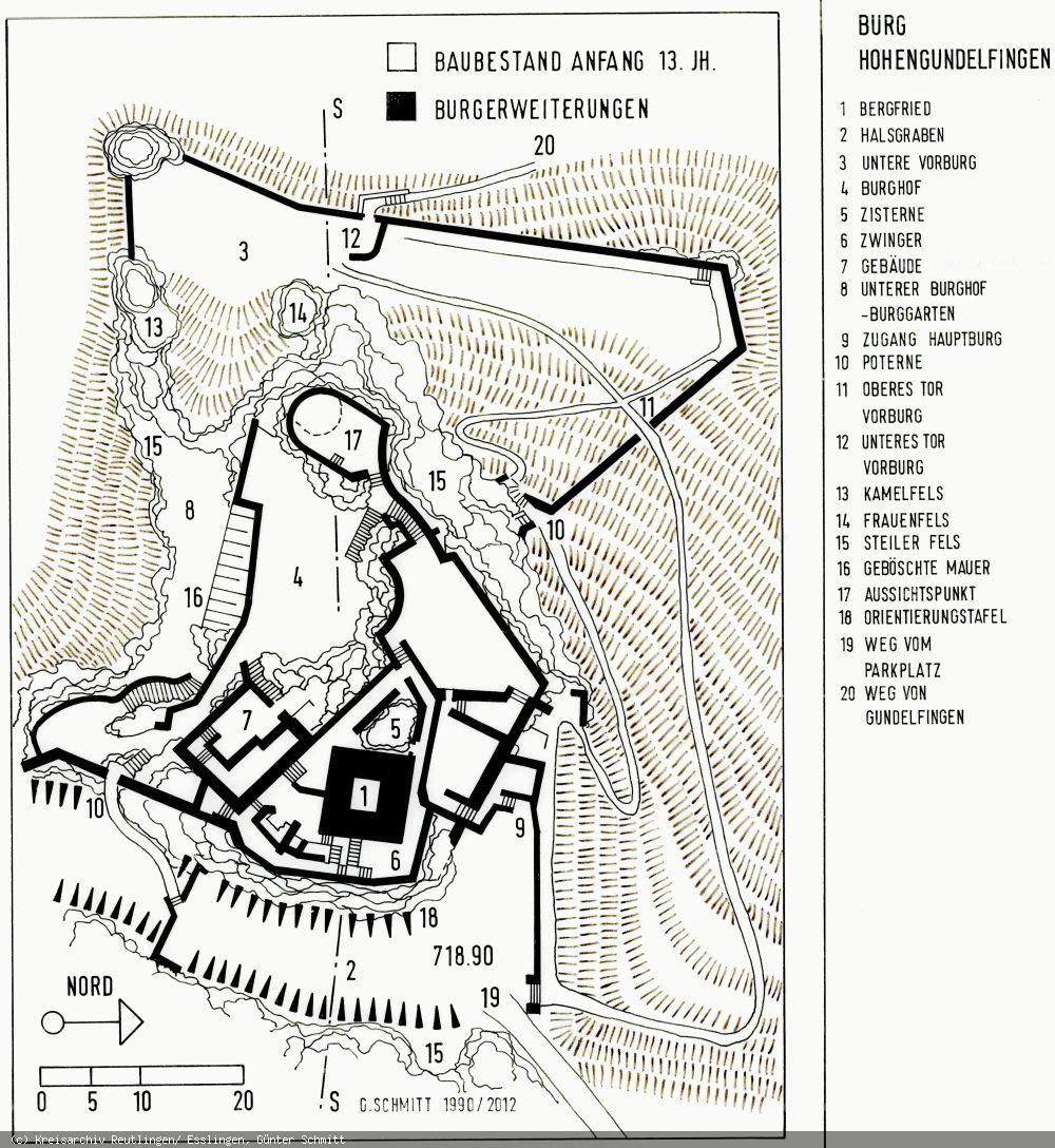 Grundriss der Burg Hohengundelfingen