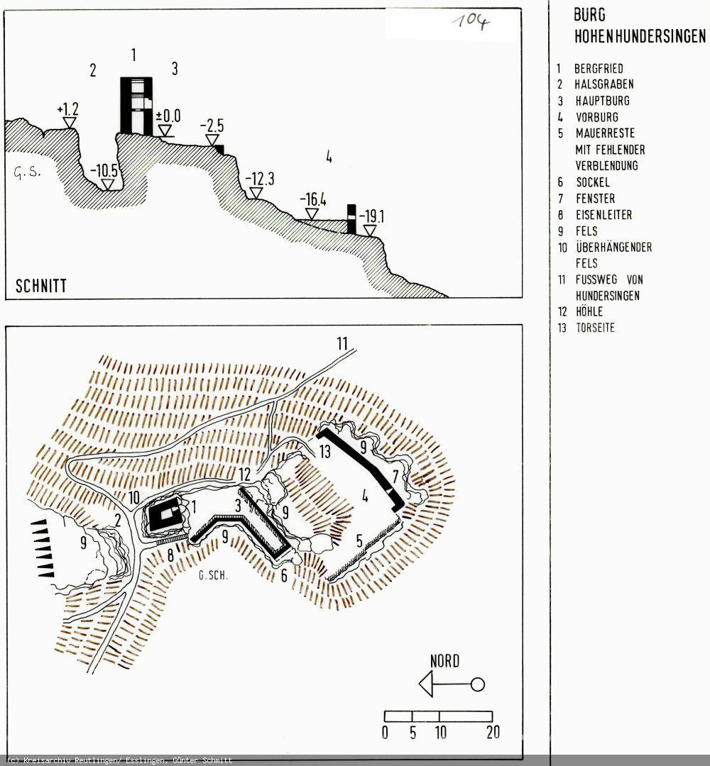 Grundriss der Burg Hohenhundersingen