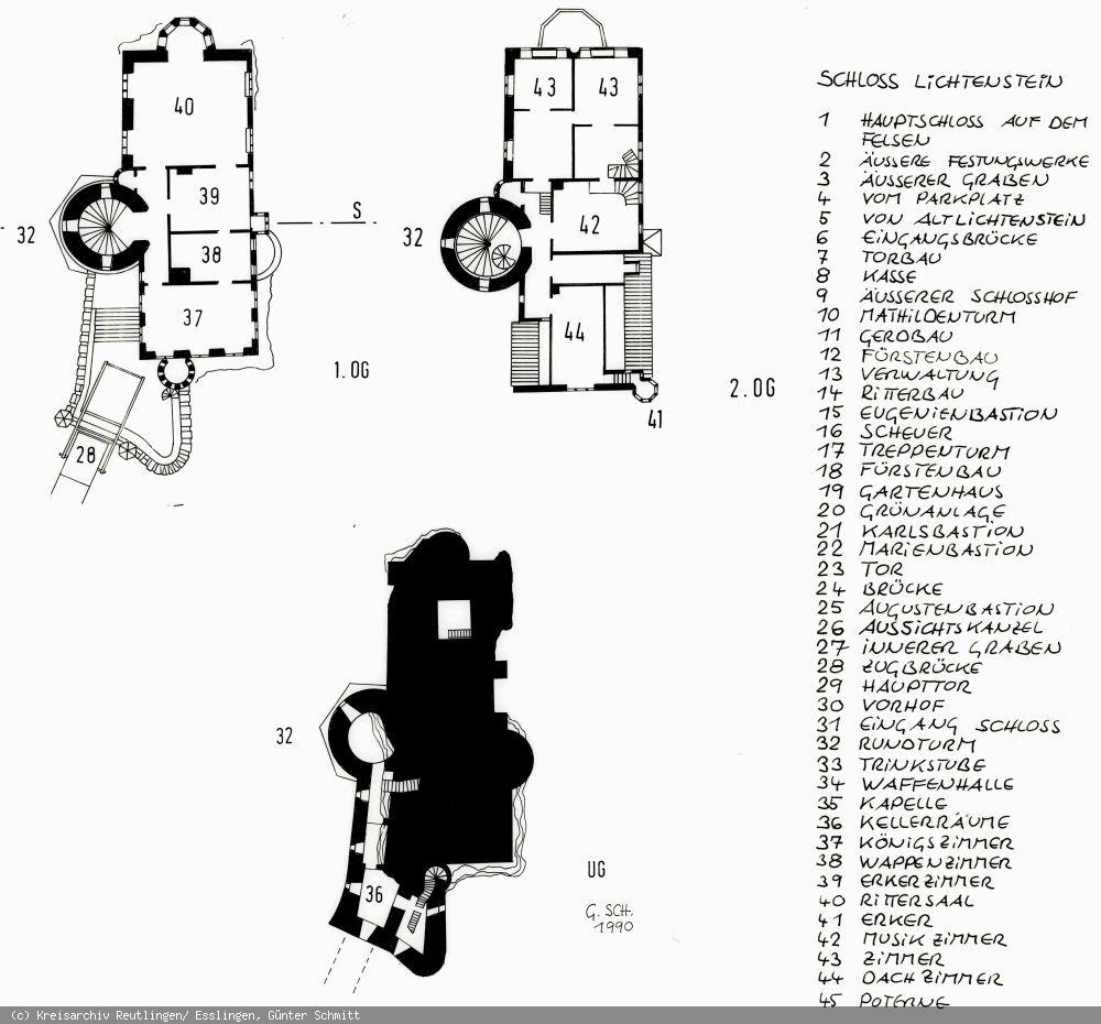Grundriss des Schlosses Lichtenstein