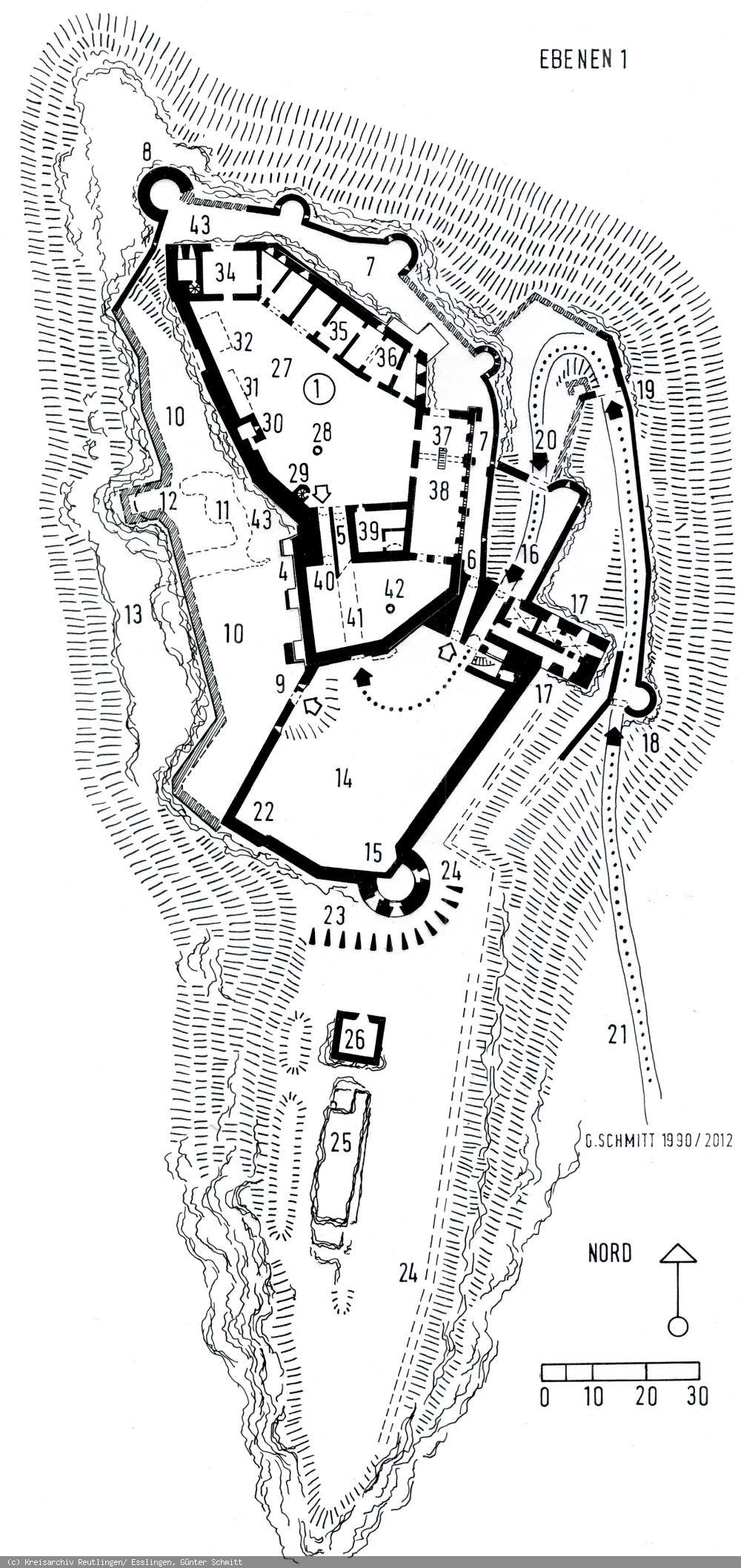 Lageplan des Hohenurach