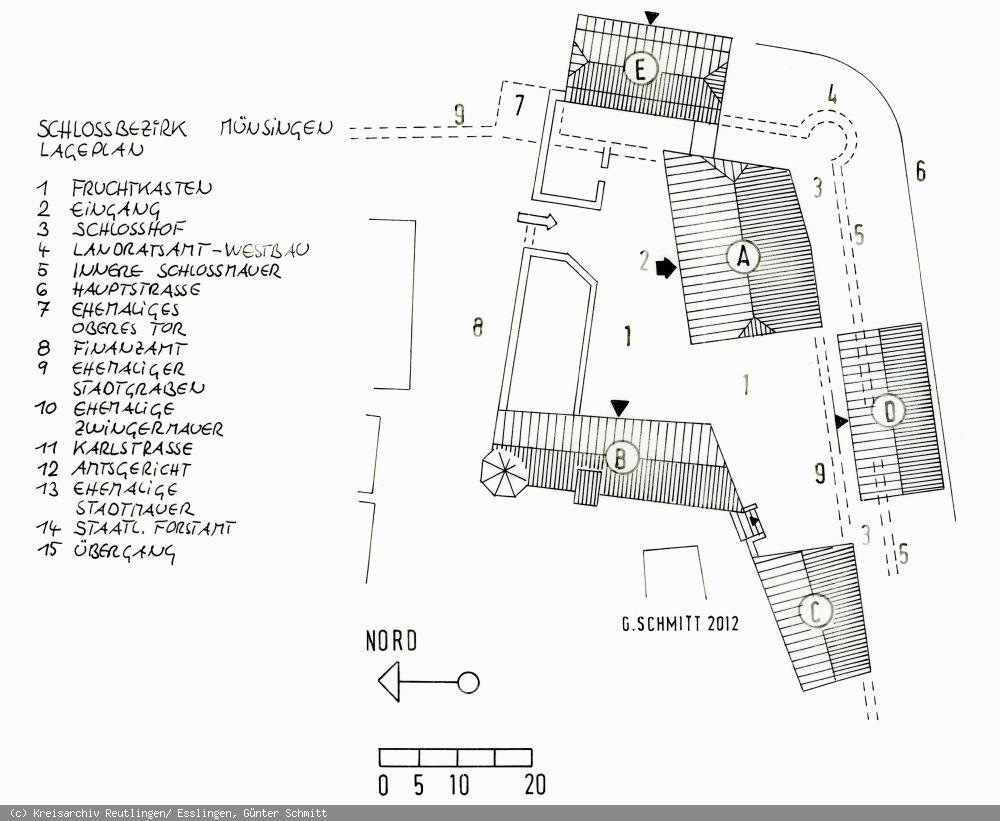 Lageplan des Schlossbezirks Münsingen