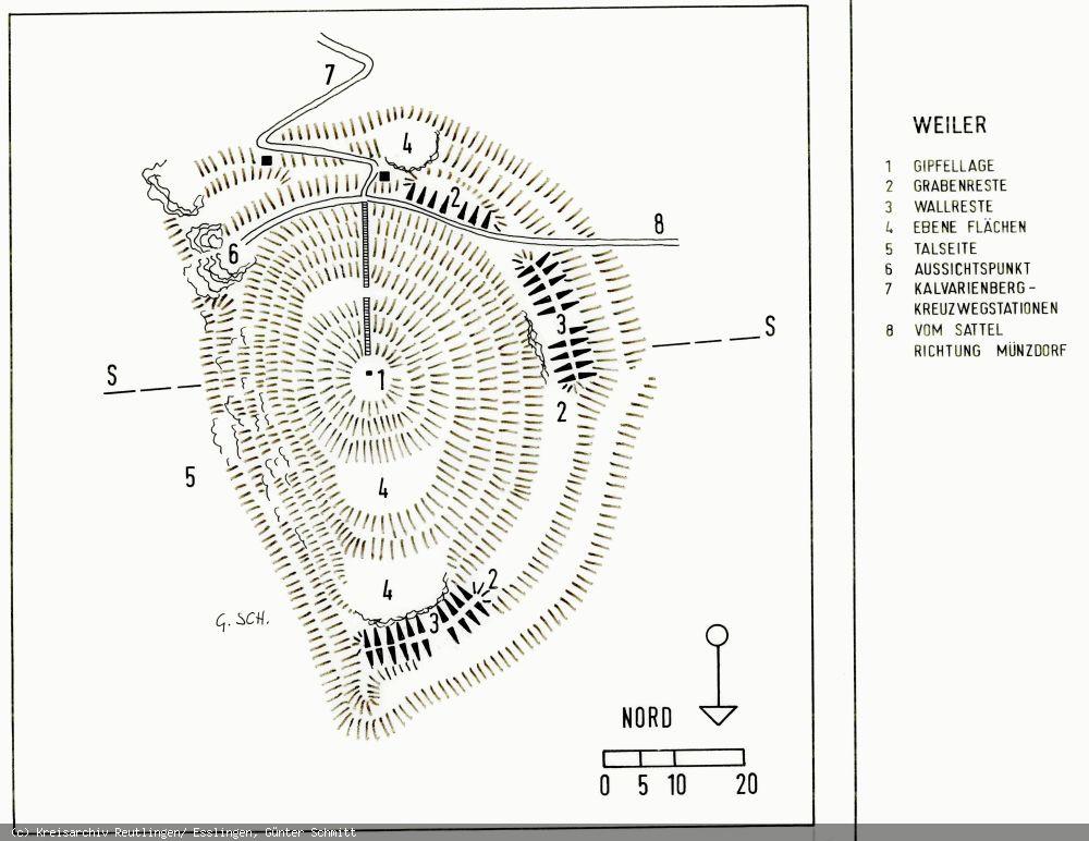 Lageplan der Burg Weiler