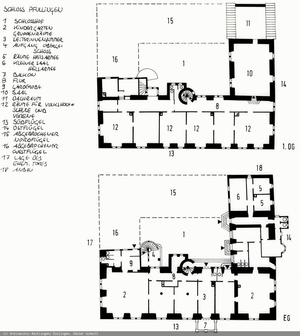 Lageplan des Schlosses Pfullingen