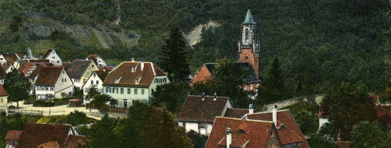 Ortsansicht mit der Galluskirche, ca. 1910. Bildnachweis: KART S06 Nr. 895, Haus der Geschichte, Sammlung Gebrüder Metz